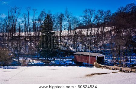 Winter View Of White Rock Forge Covered Bridge In Lancaster County, Pennsylvania.