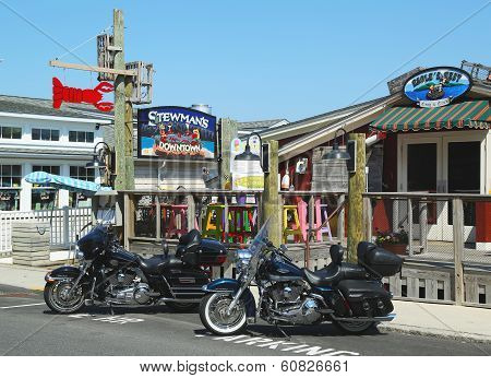 Dockside lobster restaurants in historic Bar Harbor, Maine