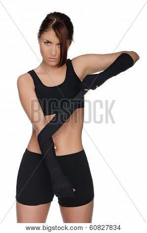 Woman Prepares For Battle Sport