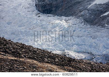 Steps Of Huge Glacier In Khumbu Walley In Himalayas