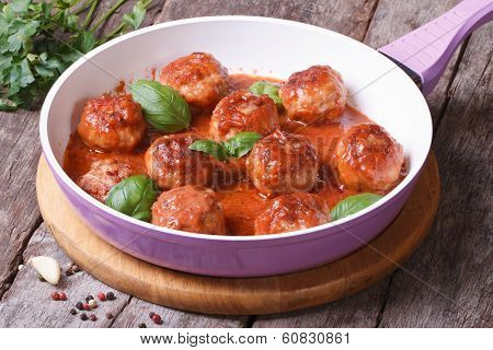 Hot Meatballs With Tomato Sauce In A Frying Pan