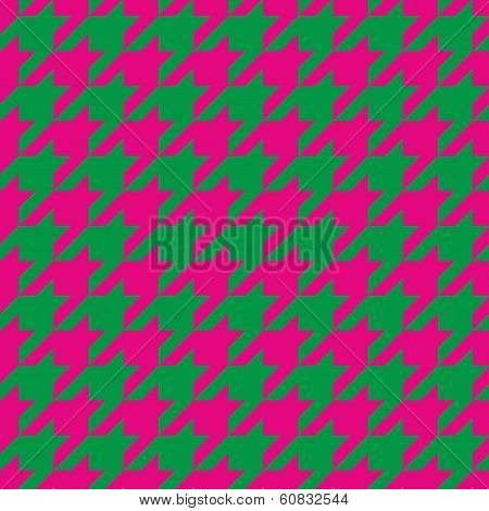 Houndstooth seamless vector background pattern. Traditional Scottish plaid green and pink fabric