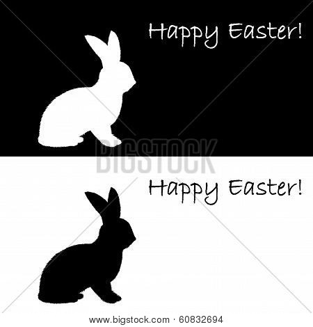 Monochrome Silhouette Of An Easter Bunny. Design Easter Uncolored Card
