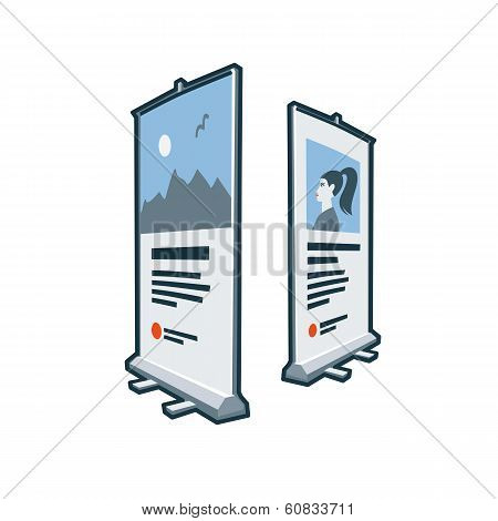Roll Up Banner Stand Icon In Cartoon Style
