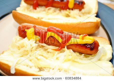 Brat On A Roll With Mustard And Ketsup