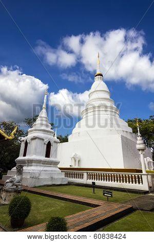 White Pagoda In Wat Phra Singh Woramahaviharn