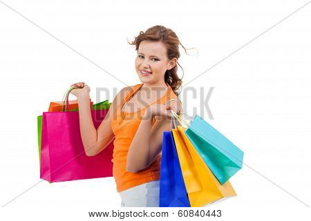 Happy Attractive Young Shopaholic