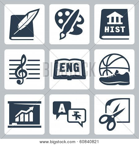 Vector School Subjects Icons Set: Literature, Art, History, Music, English, Pe, Economics, Foreign L