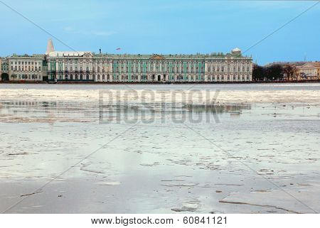 Floating of ice on the Neva River in St. Petersburg near the Palace Embankment