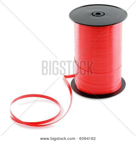 Large Spool Of Red Ribbon.
