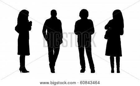 People Standing Outdoor Silhouettes Set 6