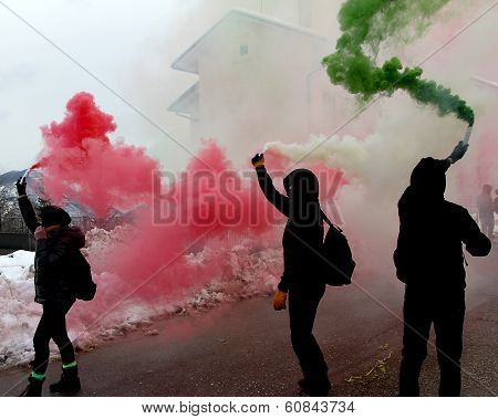 Italian Protest With Protesters