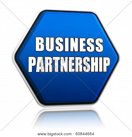 Business Partnership On Blue Hexagon Banner
