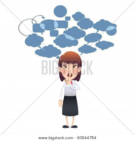 Woman Making Silence Gesture Over White Background. Vector Design