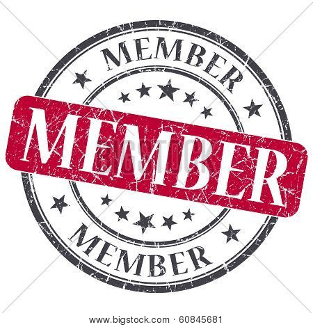 Member Red Grunge Round Stamp On White Background
