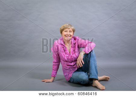 Beautiful Blond Trendy Senior Lady