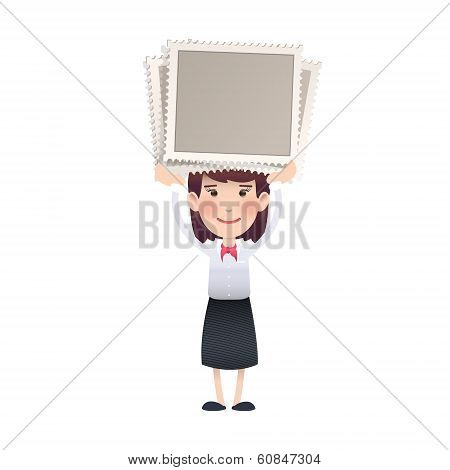 Business Girl Holding A Stamp Over White Background