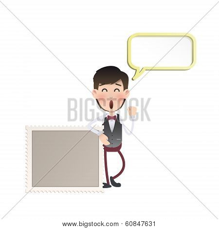 Businessman With Stamp Over Isolated White Background