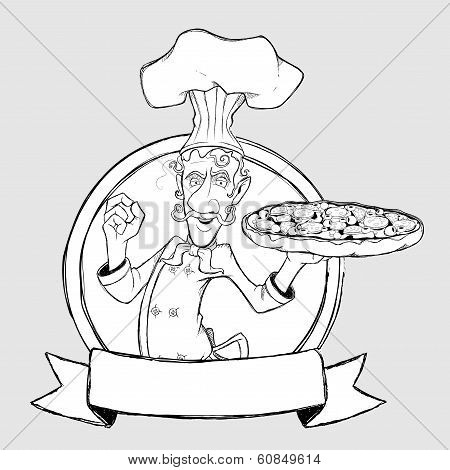 ?hef with pizza in the form of sign. Freehand drawing