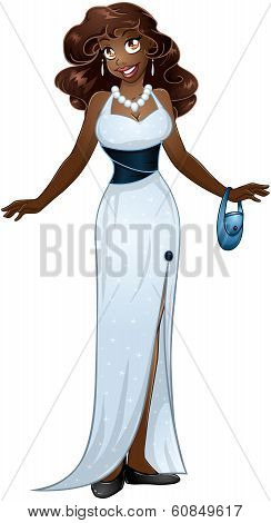 African Woman In White Evening Dress