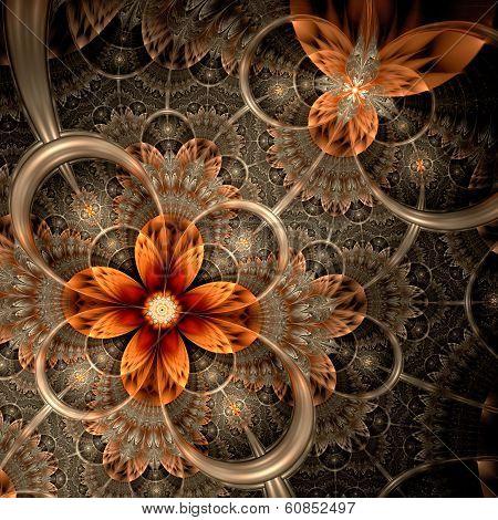 Dark Orange Fractal Flower, Digital Artwork