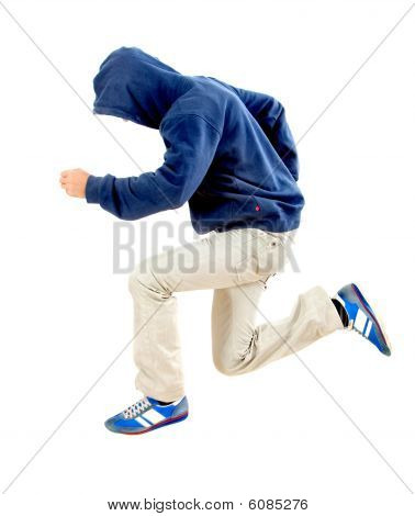 Man With Hood Jumping