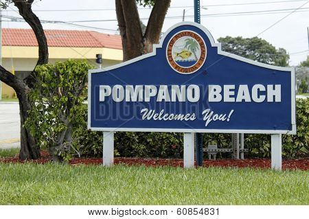 Welcome Sign Of City Of Pompano Beach, Florida