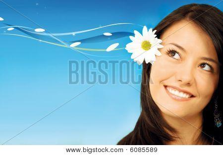 Mulher com uma flor