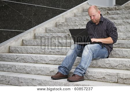 Businessman Working Outside