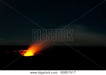 Smoking Crater Of Halemaumau Kilauea Volcano In Hawaii Volcanoes National Park On Big Island At Nigh