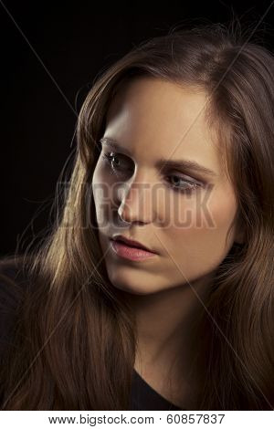 Serious Looking Young Woman Portrait
