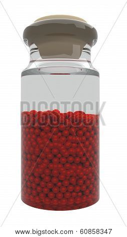 Glass bottle with beads