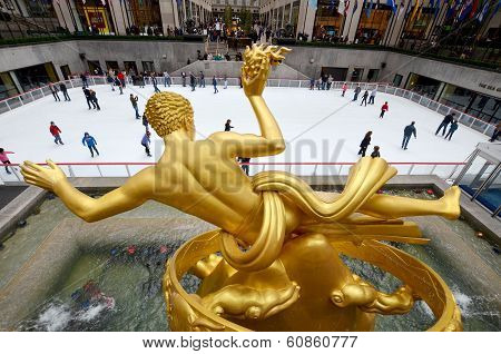 The golden Prometheus statue