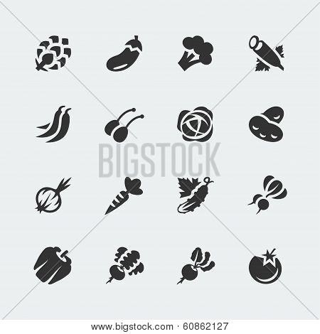 Vector Vegetables Mini Icons Set