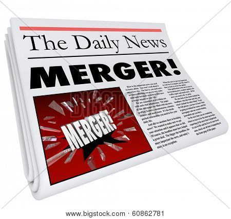 Merger Newspaper Headline Breaking News Multiple Companies