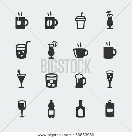Vector Beverages Mini Icons Set
