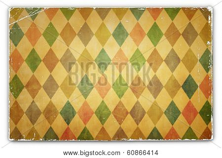 An Antique, Vintage, Grunge, Card, Paper Background with Rhombus Pattern