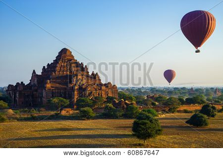 Balloon Over Dhammayangyi Temple At Sunrise,  Bagan, Myanmar