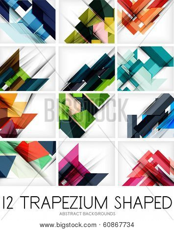 Collection of trapezium geometric shape backgrounds - 12 design templates. For business background | numbered banners | business lines | graphic website. Raster version
