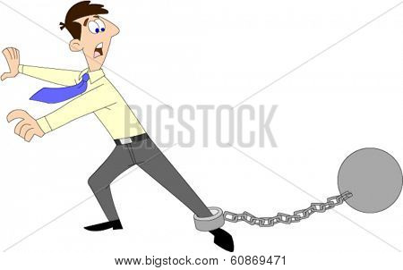 Man in shirt and tie looking frantic over ball & chain on ankle