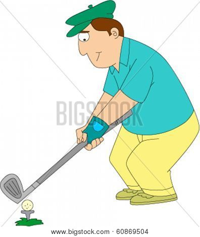 Man in golf clothes and hat teeing off on golf course