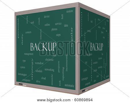 Backup Word Cloud Concept On A 3D Cube Blackboard