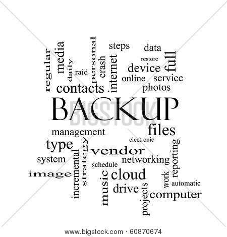 Backup Word Cloud Concept In Black And White