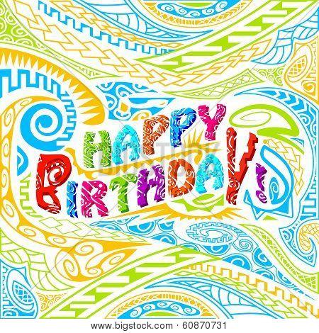 Tiki style Happy Birthday typography