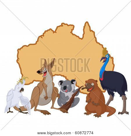 Australia with cartoon animals
