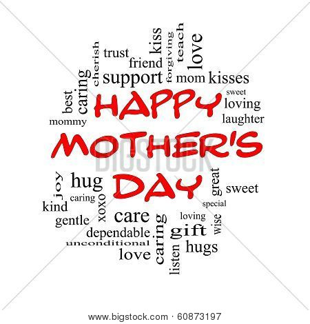 Happy Mother's Day Word Cloud Concept In Red Caps