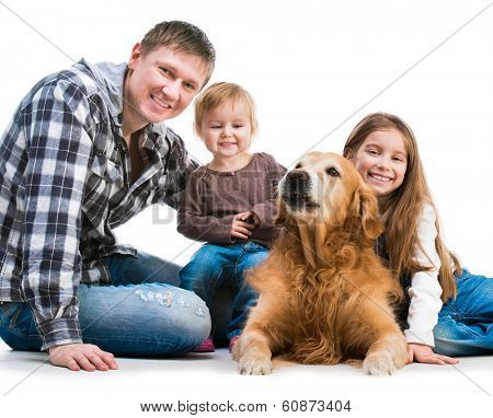 happy smiling familiy  with a big dog  isolated on white background