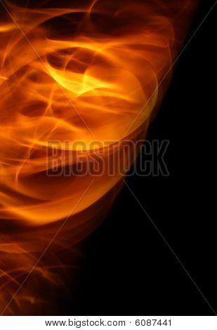 Flame on black background