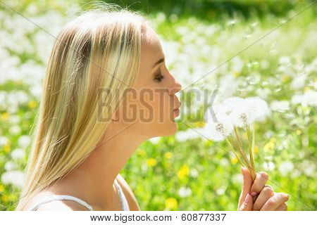 Girl blowing on white dandelion among dandelions