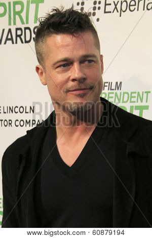 LOS ANGELES - MAR 1:  Brad Pitt at the Film Independent Spirit Awards at Tent on the Beach on March 1, 2014 in Santa Monica, CA